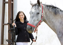 Equestrian with horse. Portrait of woman equestrian with horse Royalty Free Stock Image