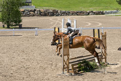 Equestrian - horse jumping. Bromont june 14, 2015 rear side view of a young woman horse rider jumping a hurdle with his beautiful Brown horse in a competition of Stock Photography