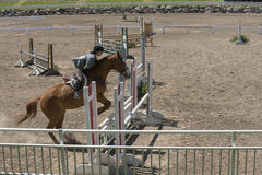 Equestrian - horse jumping. Bromont june 14, 2015 side view of girl jumping fence with brown horse during competition Stock Image