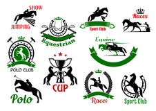 Equestrian or horse racing sport icons Royalty Free Stock Images