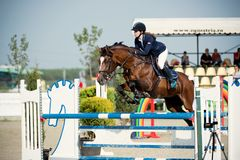 Equestrian Horse Rider Jumping.Picture showing a competitor performing in show jumping competition Stock Images