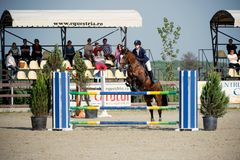 Equestrian Horse Rider Jumping.Picture showing a competitor performing in show jumping competition Stock Image
