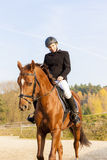 Equestrian on horseback Stock Photos