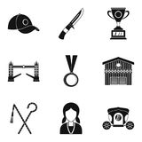 Equestrian icons set, simple style Stock Photos