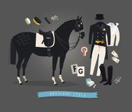 Equestrian illustration, dressage horse and essentials for the rider. Equestrian illustration, dressage horse in full harness and essential apparel for the rider Stock Image