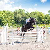 Equestrian jumping competition background. Horse with jockey jumps over rails on Show jumping competition Stock Photography