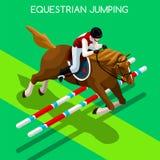 Equestrian lata gier ikony Skokowy set 3D Isometric dżokej royalty ilustracja