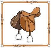 English saddle in leather belt frame on white. Royalty Free Stock Photo