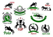 Equestrian lub wyścigi konny sporta ikony Obrazy Royalty Free