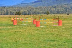 Equestrian manege, obstacles Stock Image