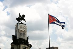 Equestrian monument in cuba stock photos