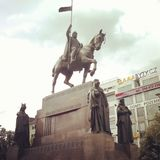 Equestrian statue of St. Wenceslas stock photography