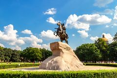 Equestrian monument of Russian emperor Peter the Great stock photos