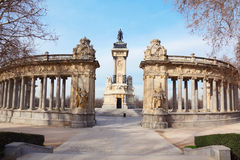 Equestrian monument to Alfonso XII and colonnade Stock Photos