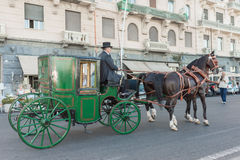 Equestrian parade of historic carriages - Naples IT Royalty Free Stock Photos