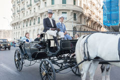 Equestrian parade of historic carriages - Naples IT Stock Images