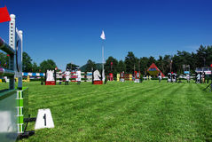 Equestrian park. Obstacle number 1 at horse jumping ground Virgil Barbuceanu in Piatra Neamt (Romania Royalty Free Stock Photo