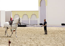 Equestrian performs on March 23, 2012 in Bahrain Stock Photos