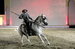 Equestrian performs on March 26, 2012 in Bahrain Royalty Free Stock Image