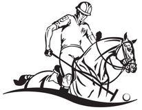 Equestrian polo klubu emblemat z jeźdza i konika koniem Obraz Stock