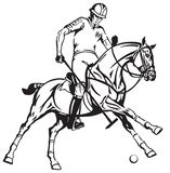 Equestrian polo player on a pony horseback Royalty Free Stock Images