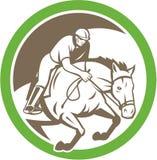 Equestrian przedstawienia doskakiwania okrąg Retro Obrazy Royalty Free