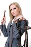 Equestrian rider. Holding bridal and horsewhip Royalty Free Stock Photo