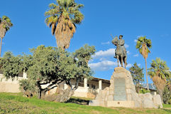 Equestrian rider monument and Alte Feste in Windhoek Royalty Free Stock Image