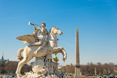 Equestrian sculpture Fame of Louis XIV and Obelisk of Luxor, fro Stock Photo