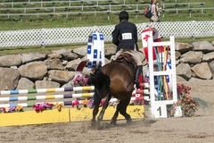 Equestrian show - horse stop at hurdle Stock Photo