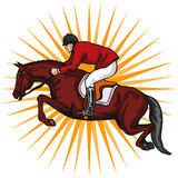 Equestrian show jumping. Art royalty free illustration