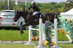 Equestrian Show Jumping. Vimeiro Equestrian Show Jumping - XV International Show Jumping (POR) 24-27Jul2008 Rider-Francisca Chaves Ramos, POR ;Horse-Troia Royalty Free Stock Photos