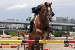 Equestrian Show Jumping. Horse & Rider showjumping in an equestrian event (shallow focus stock photo