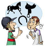Equestrian slang. Cartoon-style illustration: a young horseman speaks using equestrian slang. The interlocutor doesn't understand Stock Photos