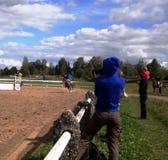 Equestrian sport (конный спорт). Equestrian sport -  tournament on jumping (конный спорт), children's schools Royalty Free Stock Photography
