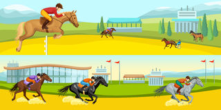 Equestrian Sport Cartoon Horizontal Banners Stock Photography