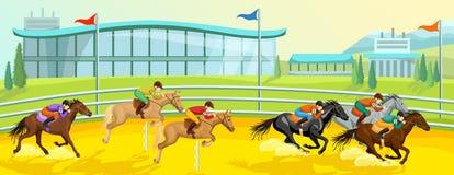 Equestrian Sport Cartoon Template vector illustration