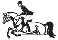 Equestrian sport competitions horse show jumping. Horse and rider jumping over an obstacle .Equestrian sport competition. Side view black and white vector Royalty Free Stock Photography