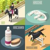 Equestrian Sport 2x2 Design Concept. Set of horse shampoo horseshoe rider and horseback riding isometric square icons vector illustration Royalty Free Stock Photos