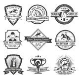 Equestrian Sport Emblems Set Royalty Free Stock Images