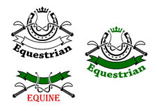 Equestrian sport emblems with whips and horseshoes. Equestrian sport symbols for emblems design with dressage whips and horseshoes, topped with crowns, decorated Royalty Free Stock Photos