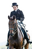 Equestrian sport. female dressage rider Stock Photos