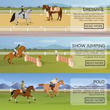 Equestrian Sport Flat Horizontal Banners Royalty Free Stock Photos