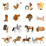 Equestrian Sport Flat Icons Set Stock Photo
