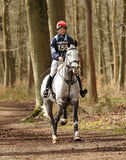 Equestrian sport,galloping horse. Charlotte Agnew riding Dubai Cruise in the Land Rover Gatcombe one day event horse cross country trails 22-3-14 Stock Photo