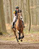 Equestrian sport,galloping horse. Molly Johnstone riding Olympic Law in the Land Rover Gatcombe one day event horse cross country trails 22-3-14 Royalty Free Stock Photography