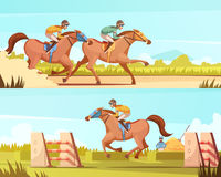 Equestrian Sport Horizontal Banner. S with horse riding and racing cartoon compositions flat vector illustration Stock Photo