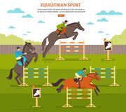 Equestrian Sport Background Composition. Equestrian sport horse illustration with pleasure ground scenery horsemen and barriers with text and more button vector Royalty Free Stock Photo