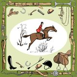 Equestrian sport with horse rider England steeplechase style. stock illustration