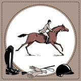 Equestrian sport horse rider England steeplechase style. Derby in leather frame and horse riding tack tool. royalty free illustration